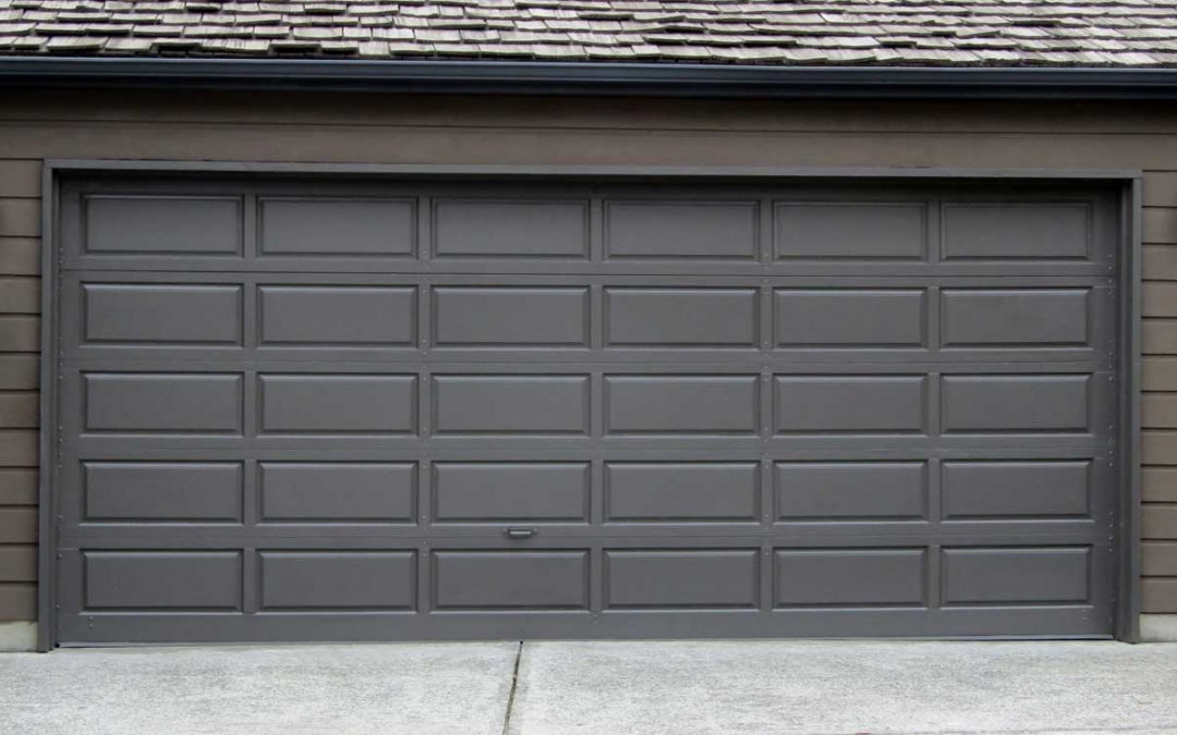 Double car sectional garage door.