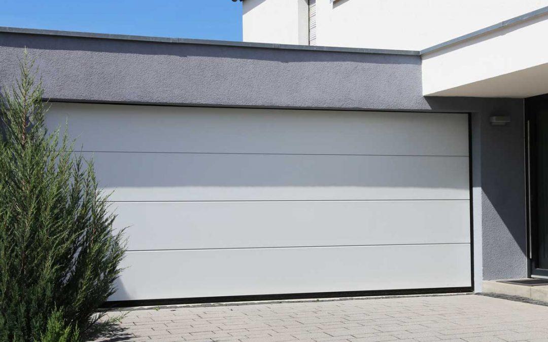 Modern white garage door (sectional door)